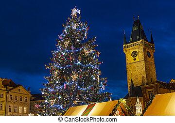 tchèque, prague, ville, république, noël, vieil arbre, carrée