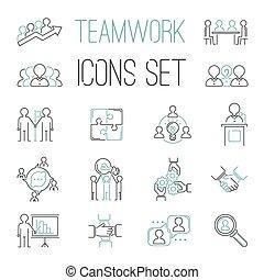 teambuilding, business, collaboration, icônes, contour