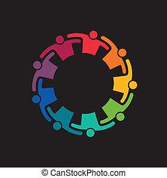 teaming, collaboration, haut, embrasser, gens., icône, vecteur, groupe, 9, engagement, concept, united.