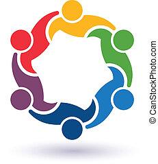 teaming, connecté, gens, 6.concept, autre., heureux, portion, icône, vecteur, groupe, amis, chaque
