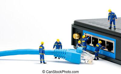 techniciens, connecter, réseau, câble