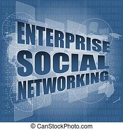 technologie, écran, social, gestion réseau, interface, salut, entreprise, toucher