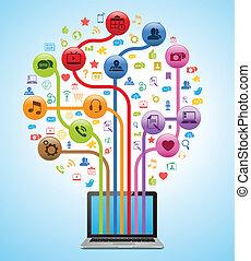 technologie, app, arbre