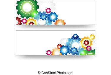 technologie, bannière, engrenages, coloré