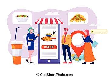 technologie, business, mobile, magasin ligne, ordre, nourriture, livraison, app, concept, femme, homme, gens, vecteur, usage, magasin, illustration., service
