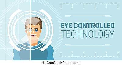 technologie, contrôlé, oeil