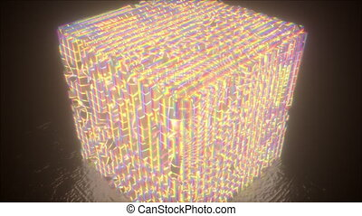 technologie, cube, holographic