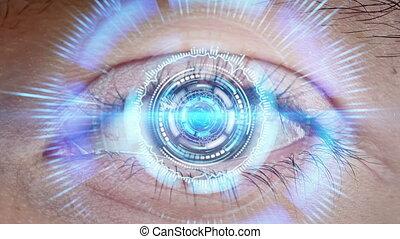 technologie de pointe, gros plan, oeil, cyber