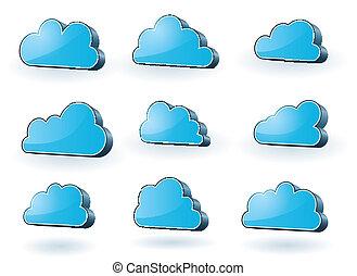 technologie, ensemble, nuages