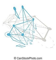 technologie, géométrique, objet, illustration., numérique, wireframe, 3d, résumé, vecteur