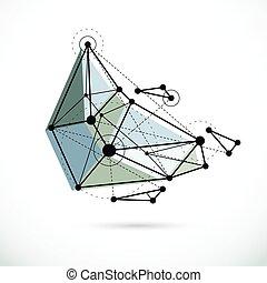 technologie, géométrique, vecteur, 3d, objet, illustration., constitué, wireframe, résumé