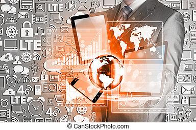 technologie, hommes affaires, mains