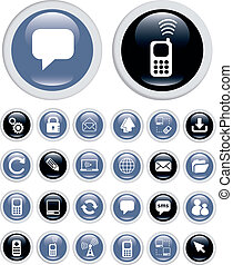 technologie, icones affaires