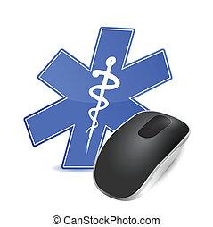 technologie, monde médical, souris ordinateur, concept.