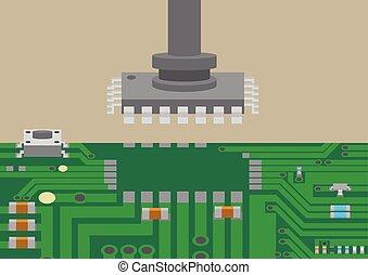 technologie, monter, composant, placement, surface