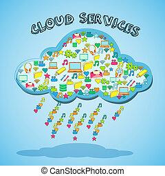 technologie, nuage, emblème, réseau, service