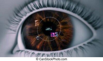 technologie, oeil, élevé, intelligent, 4k, lentille, contact, appareil