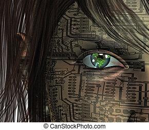 technologie, oeil, humain, la terre