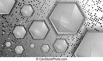 technologie, résumé, fond, élevé, hexagones, vecteur