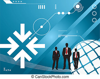 technologie, silhouette, hommes affaires, fond