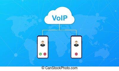 technologie, voip, banner., ip., internet, sur, appeler, graphiques, voix, mouvement
