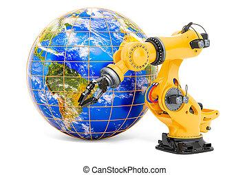 technologies, globe., 3d, bras robotique, la terre, automation, concept, global, rendre