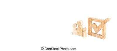 technologies., tique, concept, figures, droits, bois, social, electorates., ensemble, trois, box., faire la fête, stand, humain, élections, volontaires, constituency, suivant, bannière, candidats
