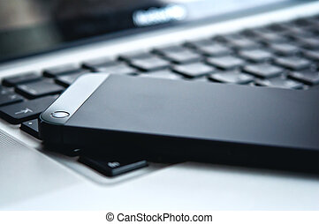 technology., ordinateur portable, téléphone, noir, clavier, appareil