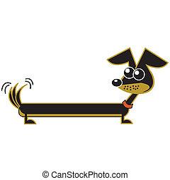 teckel, art, dessin animé, agrafe, chien
