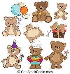 teddy, articles, différent, ensemble, ours