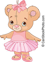 teddy, ballerine, ours, mignon