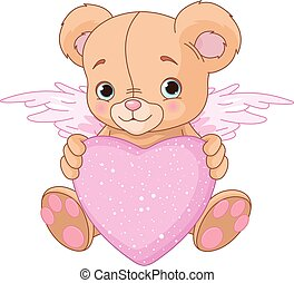 teddy, coeur, ours