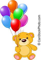 teddy, coloré, tenue, ours, ballons