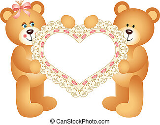 teddy, couple, ours
