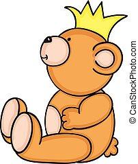 teddy, couronne, ours, jaune, séance