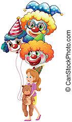 teddy, dame, jeune, ours, clown, ballons