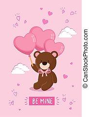 teddy, mignon, hélium, ours, ballons