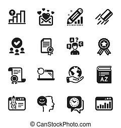 tel, clock., education, icônes, ensemble, humeur, vecteur, bon, vocabulaire
