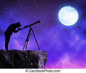 telescope., regarder, ciel, étoiles, femmes