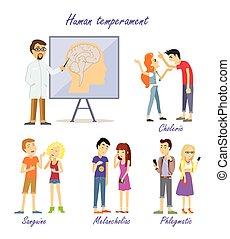 tempérament, humain, types., scientifique, personnalité