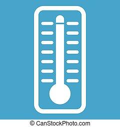 température, élevé, indique, thermomètre, blanc, icône