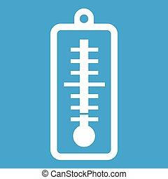température, indique, bas, thermomètre, blanc, icône
