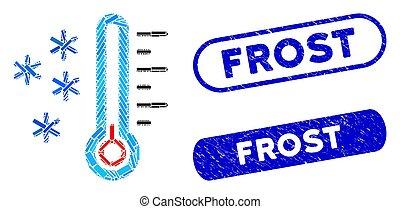 température, timbres, mosaïque, gelée, détresse, rectangle