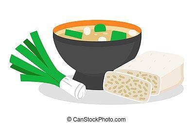 tempeh, soupe, repas, ensemble, arc, miso, délicieux