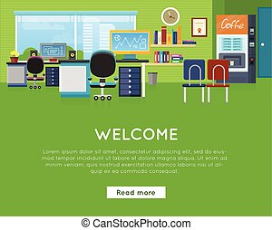 template., bureau, concept., site web, accueil