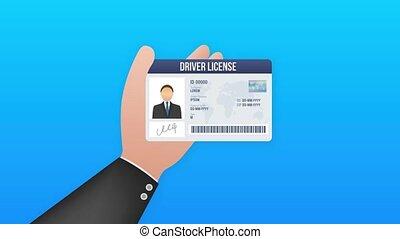 template., carte, mouvement, chauffeur, graphics., licence, card., id, homme, plastique