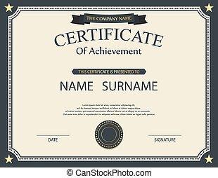 template., certificat, vecteur