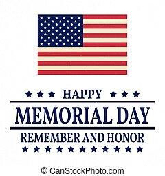 template., illustration., heureux, vecteur, flag., honneur, américain, fond, commémoratif, rappeler, patriotique, poster., banner., jour