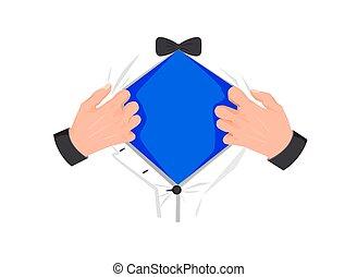 template., powerful., ouvrir mains, mens, tshirt, superhero, bleu, symbole, poitrine