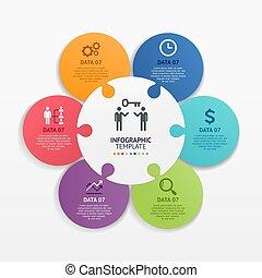 template., vecteur, illustrations., cercle, puzzle, infographics, puzzle